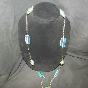 Jewelry - Vintage green glass and fabric beaded necklace